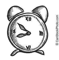 doodle alarm clock, vector