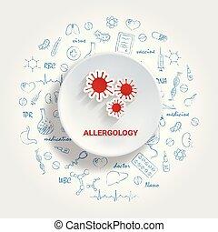 doodle., allergology, icônes, illustration médicale, main, vecteur, médecine, dessiné, concept., specialties.