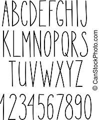 Doodle alphabet, vector simple hand drawn letters thin san ...