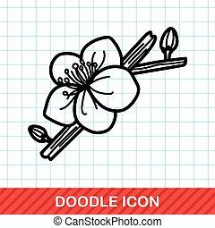 doodle, ameixa, flor