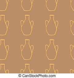 Doodle ancient jug seamless pattern, ceramic greek vase