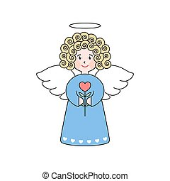 Doodle angel with a heart