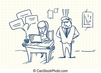 Doodle Angry Business Man Boss Standing At Woman Chatting Online Using Laptop Computer At Office Workplace