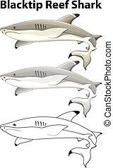 Doodle animal for blacktip reef shark