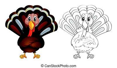 Doodle animal for wild turkey