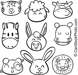 Doodle animal head style collection