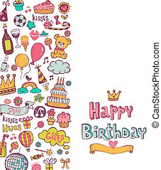 doodle, aniversário, ícones