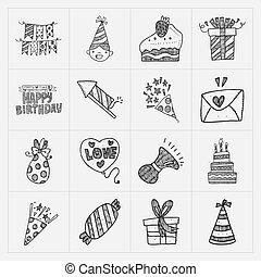 doodle, aniversário, jogo, partido, ícone