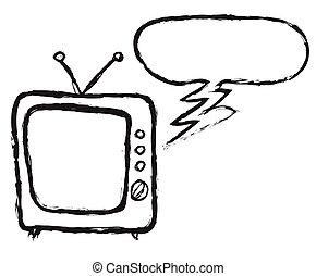 doodle, antigas, retro, tv, borbulho fala
