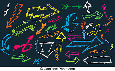Doodle Arrows - A selection of hand drawn directional...