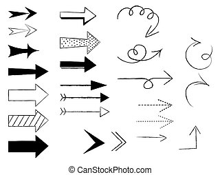Doodle arrows on white background. Vector illustration.