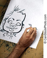 Doodle Art - Man drawing a cartoon character.
