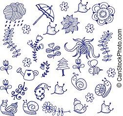 doodle, arte, jardim