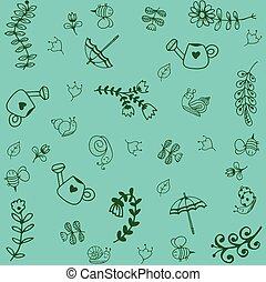 doodle, arte, verde, jardim