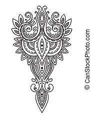 Doodle asian paisley ornament. Amulet with ethnic design....