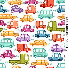doodle, auto's, seamless, model