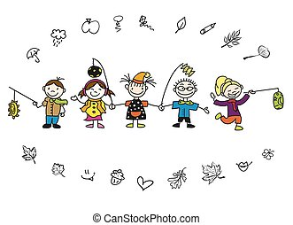 Doodle Autumn Kids with Latern and Leaves