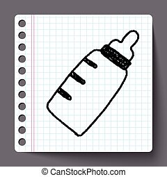 doodle baby milk bottle