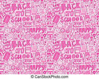 doodle back to school seamless pattern