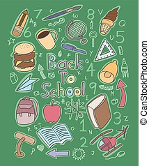 Doodle back to school with detail background