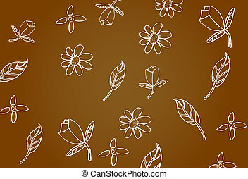 doodle background, flower and leaf