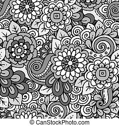 Doodle background with doodles, flowers and paisley. Seamless pattern