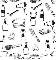 doodle, banheiro, seamless, padrão