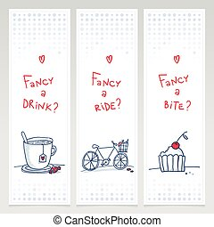 doodle, banieren, set, romantische