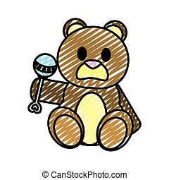doodle bear teddy cute toy with rattle