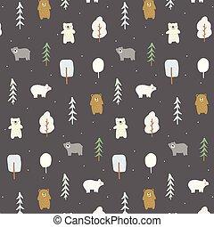 Doodle bears pattern
