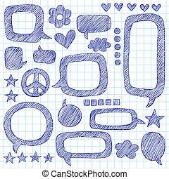 doodle, bellen, set, toespraak, sketchy