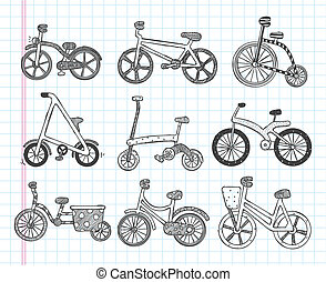 doodle bicycle icons
