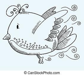 Doodle Bird Vector Illustration Art