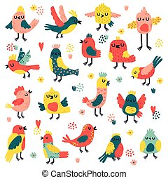 Doodle birds. Cute hand drawn birds, doodle colorful avifauna, lovely doves and sparrows, simple freehand birds vector illustration set