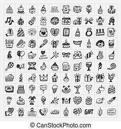 doodle birthday party icons