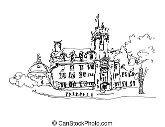 doodle black and white ink sketch drawing of famous place