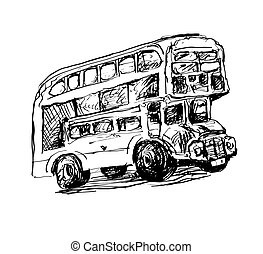 doodle black and white sketch drawing of London symbol - red bus