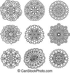 doodle, bloem, set, lineair