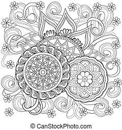 doodle, bloemen, mandalas