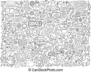 doodle, bloemen, set, dieren, mensen