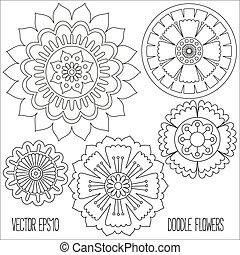 doodle, bloemen, set