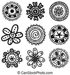 doodle, bloemen, verzameling
