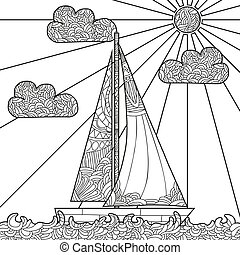 Doodle boat floating on the waves.