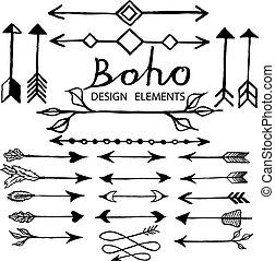 doodle, boho, elementos, desenho