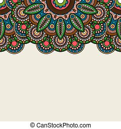 Doodle boho floral border with room for text. Vector...