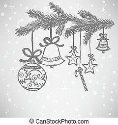 doodle, bolas, natal