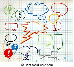 doodle, bolhas, jogo, fala, coloridos