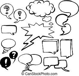 doodle, bolhas, jogo, fala