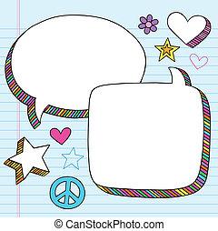 doodle, bolhas, vetorial, fala, jogo