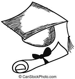 doodle, boné, graduação, mão, vetorial, desenhado